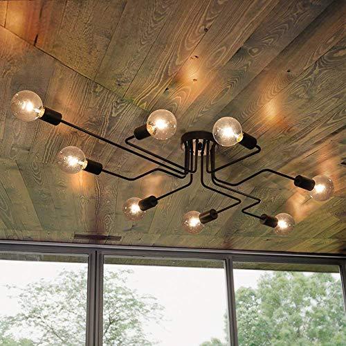 OYIPRO Moderno Lámparas de araña Metal Iluminación de techo Negro 8 E27 Lámpara para la sala de estar dormitorio restaurante Cafe (Sin bombilla)