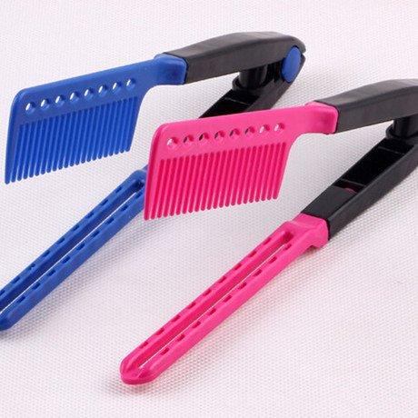 Peine de pelo Anti-Estática en Forma V del Pelo Clip Corte Peinado Corte Flequillo Lacio Herramienta Estilo(Rosa roja)