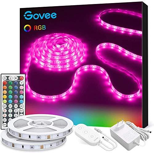 Govee Tira LED, Luces LED RGB Decorativas 10m con Control Remoto y Caja de Control, Tiras LED Adhesivas 12 V con 20 Colores y 6 Modos de Escena para Decoracion de Habitación, Pared, Techo