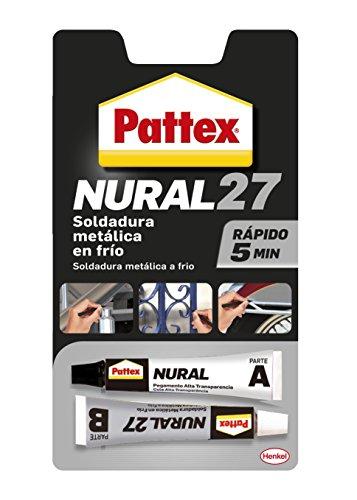 Pattex Nural 27, soldadura metálica en frío, aluminio gris, Juego 2 Tubos, 22 cm