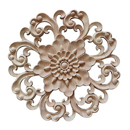 Pinji Madera Tallada Redonda Applique Decorativo de Estilo Europeo #4