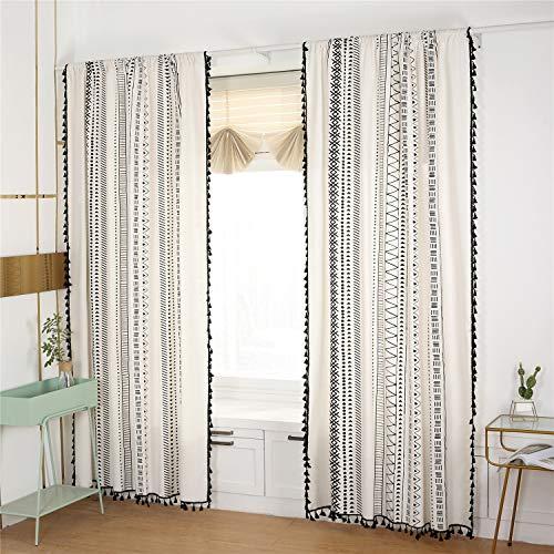 Styho Cortina bohemia para ventana de dormitorio con borlas, algodón y lino, estilo rústico, estilo bohemio, color negro y blanco, 2 piezas de 150 x 180 cm