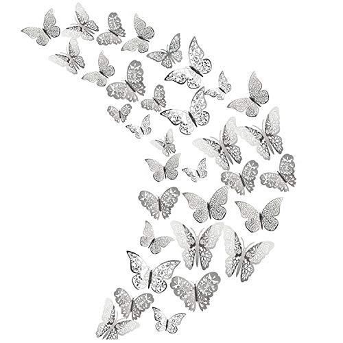 36 piezas de plata hueca 3D decoración de la mariposa, decoración de la mariposa etiqueta de la pared decoración de la fiesta de cumpleaños decoración del hogar del dormitorio de la boda