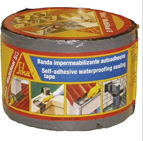 Sika Multiseal SG, Gris, Banda autoadhesiva bituminosa sobre soportes múltiples, para reparación de cubiertas y fisuras en edificios, 10 cmx 12m