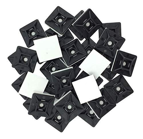 intervisio Juego Soportes Adhesivos para Bridas de Cable 19 mm x 19mm, Clips Adhesivo para las Brida de Plastico, Base de montaje sujetacables autoadhesivos cables, Negro, 100 Piezas