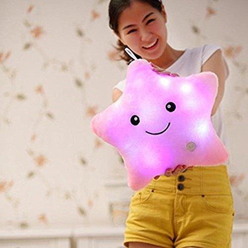 LED Estrella Almohadas Luminoso Suave Cojines Maravilloso Guardería Habitación Almohadas Felpa Juguetes Fiesta Decoraciones (Rosado)