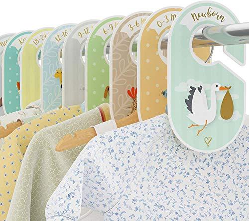 Kidoo - 18 Separadores para Armario de Bebé, Organizadores Divisores de Guardarropas, Perchas para Armario, Duradero y Practico. Organizar la Ropa por Edad, Talla y Tipo