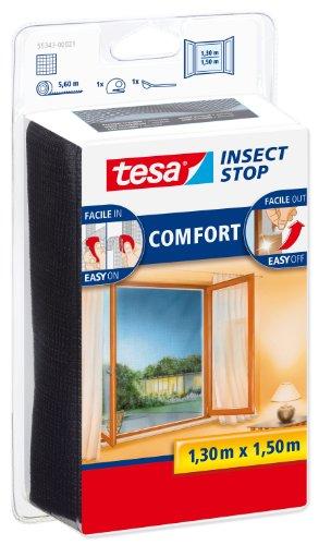 tesa Insect Stop Malla Mosquitera COMFORT para Ventanas , Mosquitera Autoadhesiva con Cierre de Gancho y Bucle , Tela Antimosquitos , Gris Antracita, 130 cm x 150 cm