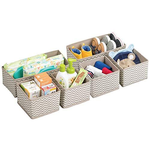mDesign Cajas almacenaje juego de 6 – Cajas almacenaje ropa, toallas, sábanas – Ideales cajas organizadoras para un orden óptimo – Color: topo/natural