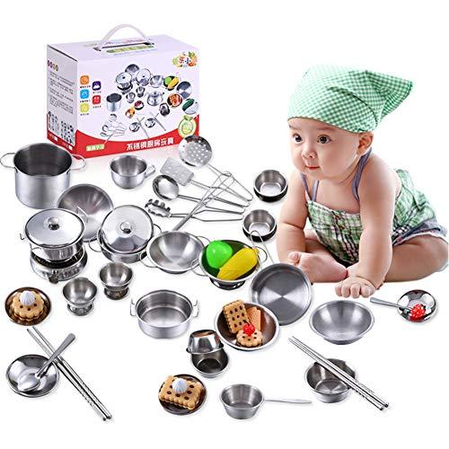 Juguetes de Cocina para niños, Utensilios de Cocina de Acero Inoxidable Utensilios de Cocina Juego de Juguetes de sartén Accesorios de Cocina para niño