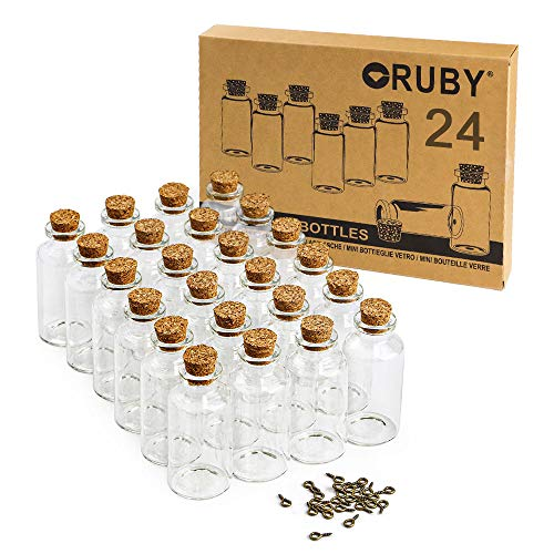 RUBY 24 25ml Mini Botellas De Cristal con Corcho, Botes Cristal PequeñOs,Tubos De Ensayo Cristal, Frascos De Vidrio Tapon Corcho, Botellas De Deseo 30x60mm