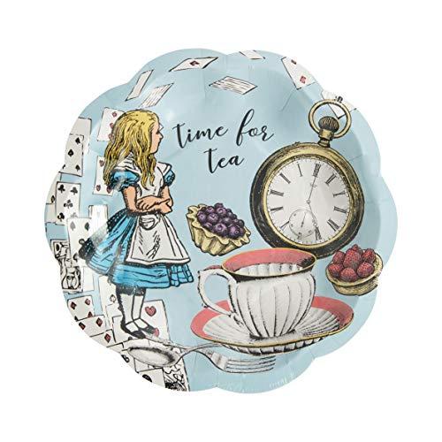 Paquete de 12 platos pequeños azules de Alicia en el país de las maravillas | Vajillas desechables, reciclables a domicilio | Fiesta del té del Sombrerero Loco, Cumpleaños, Día de la Madre