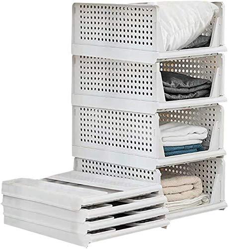 Juego de 4 cajas de almacenamiento apilables de plástico para armario, cajas organizadoras de armario extraíbles como un cajón, adecuadas para el hogar, dormitorio, cocina