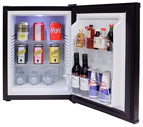 FERBOX MINIBAR 40L - Minibar silencioso (0 dB), Capacidad: 40 litros, Descongelación automática, Bajo Consumo, Rango de Temperatura (+3º/+10º), 65W, Puerta Reversible (Negro)