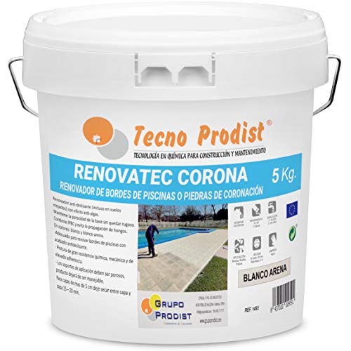 RENOVATEC CORONA de Tecno Prodist - ( 5 kg ) BLANCO ARENA Pintura renovación bordes de piscinas o piedra de coronación - Antideslizante - Antialgas - Fácil Aplicación