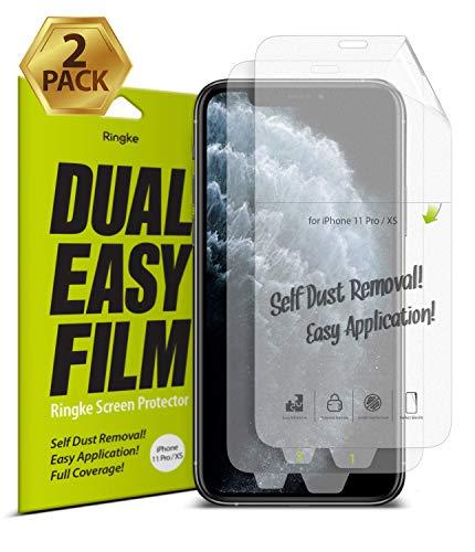 Ringke Dual Easy Film [2 Unidades] Diseñado para Protector de Pantalla Apple iPhone 11 Pro, Protección Clara Fácil de Instalar Cobertura Total Protector Pantalla iPhone 11 Pro (5.8')