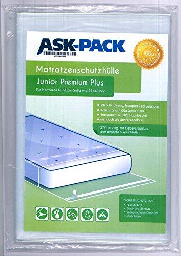 Bolsa de Colchón Junior Premium para un Colchón de 90cm de ancho / 25cm grosor / y hasta 220cm largo - CON CIERRE ADHESIVO - reutilizable - Extra fuerte 100µ