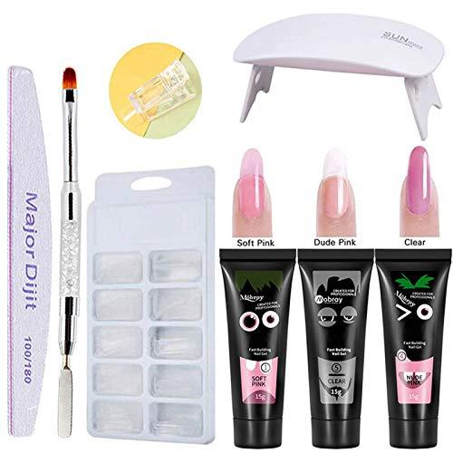 kit uñas de gel completo,Anself 3 colores Gel Uñas rápido+Lámpara de uñas UV +100 pcs Moldes de uñas Gel nails kit (Tipo 1)
