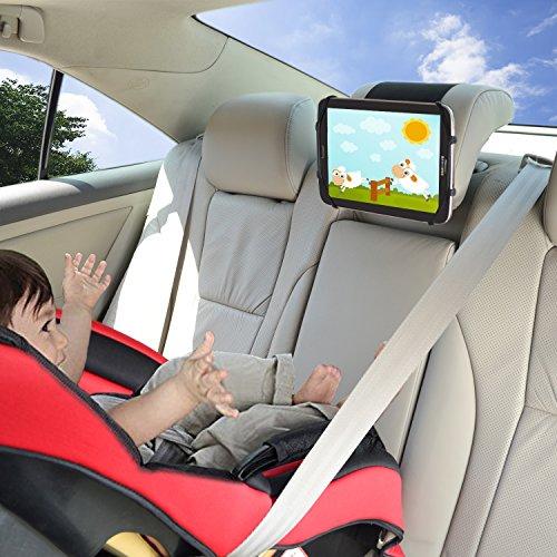 Soporte de iPad para el Coche TFY Soporte de iPad para Reposacabezas de Coche con Malla de Silicona para Sujetar Teléfonos Móviles de 4,5 a 6 Pulgadas y Tablets de 7 a 10,5 Pulgadas