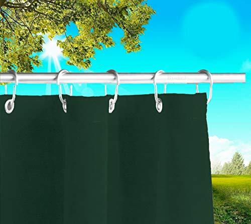 Toldos Exteriores con Agujeros en la Parte de Arriba y los Ganchos de Metal Tejido antimoho Repelente al Agua Toldo de Tela de algodón resinado para terrazas Gazebos Balcon (Verde, 190cm x H 280cm)