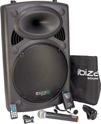 Ibiza Sound PORT15VHF-BT Sistema de sonido portátil y autónomo de 15'/38 cm, 800 W