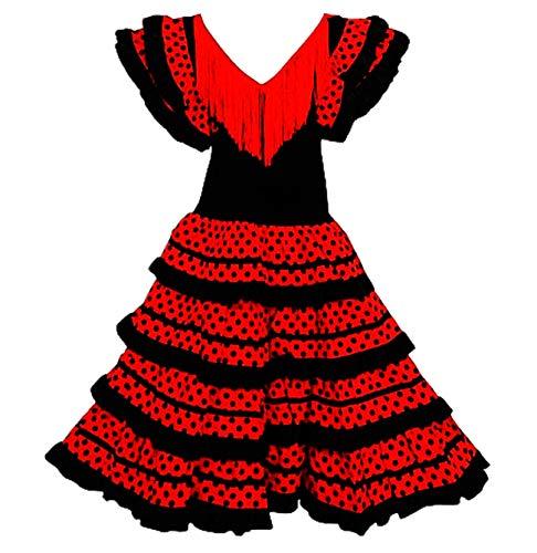 FUREIN Vestido Flamenco Disfraz Sevillana, Traje de Andaluza la Señorita, Carnaval, Bailar Flamenca para Niñas y Mujer- con Lunares Negros, Rojo y Negro, 6 Años