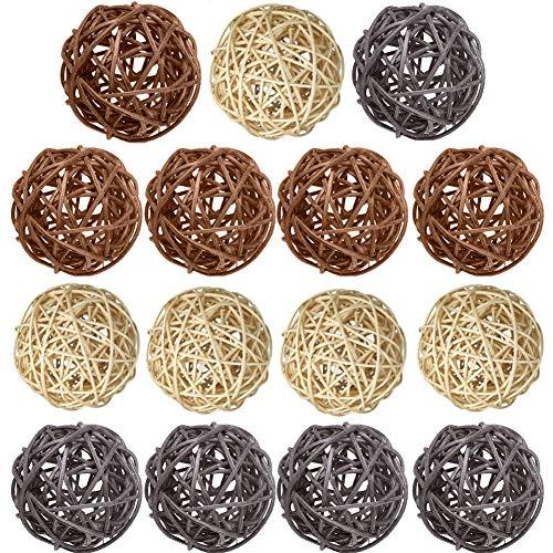 Bolas de mimbre de ratán, 15 piezas decorativas de varios colores, rellenos de jarrón de esferas naturales para manualidades, fiestas, decoración de mesa de boda,Natural Brown Gray