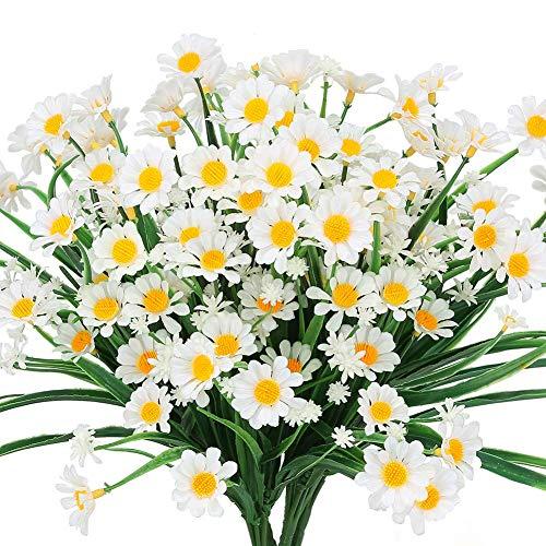 Msrlassn Artificiales Flores,4 Piezas Artificiales Margarita Flores,para Interior Exteriores Decorativas Porche Ventana jardín arbusto plastico Planta decoración (Blanco)