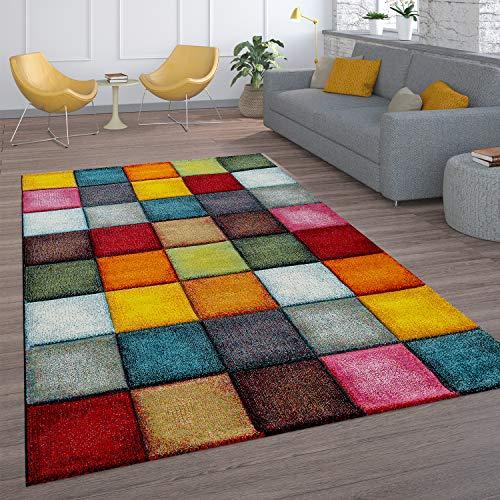 Alfombra Salón Pelo Corto Diseño Cuadros Colorida Cuadrados Multicolor Alegre, tamaño:200x290 cm